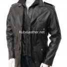 Mens Leather Coat .