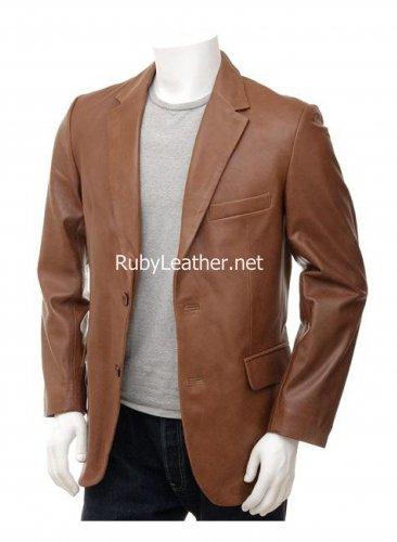 Men's Tan color Leather Blazer , Men Leather coat.