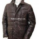 Men's Brown Leather coatwith quilting details , Men Leather coat.