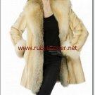 NEW WOMEN WINTER FUR COAT, mink fur coat with golden island  fox  , mink fur coat ,fox fur coat