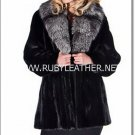 Mink Jacket with fox fur collar, ladies fur coat , mink fur coat for women