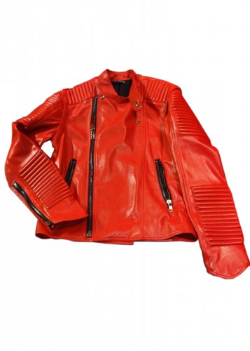 """Men red color oversized motorbike leather jacket with quilted padding """"Free Shipping WORLDWIDE"""""""