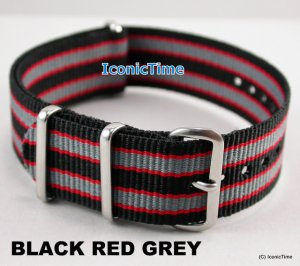 22mm Black-Red-Grey NATO Military Watch Strap Band
