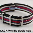 20mm Black-White-Blue-Red NATO Military Watch Strap Band
