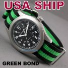 20mm Black-Green James Bond NATO Military Watch Strap Band
