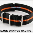 20mm Black-Orange Racing NATO Military Watch Strap Band