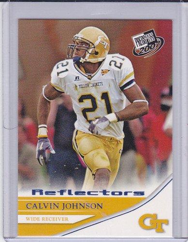 CALVIN JOHNSON ROOKIE 2007 PRESS PASS BLUE REFLECTOR #18