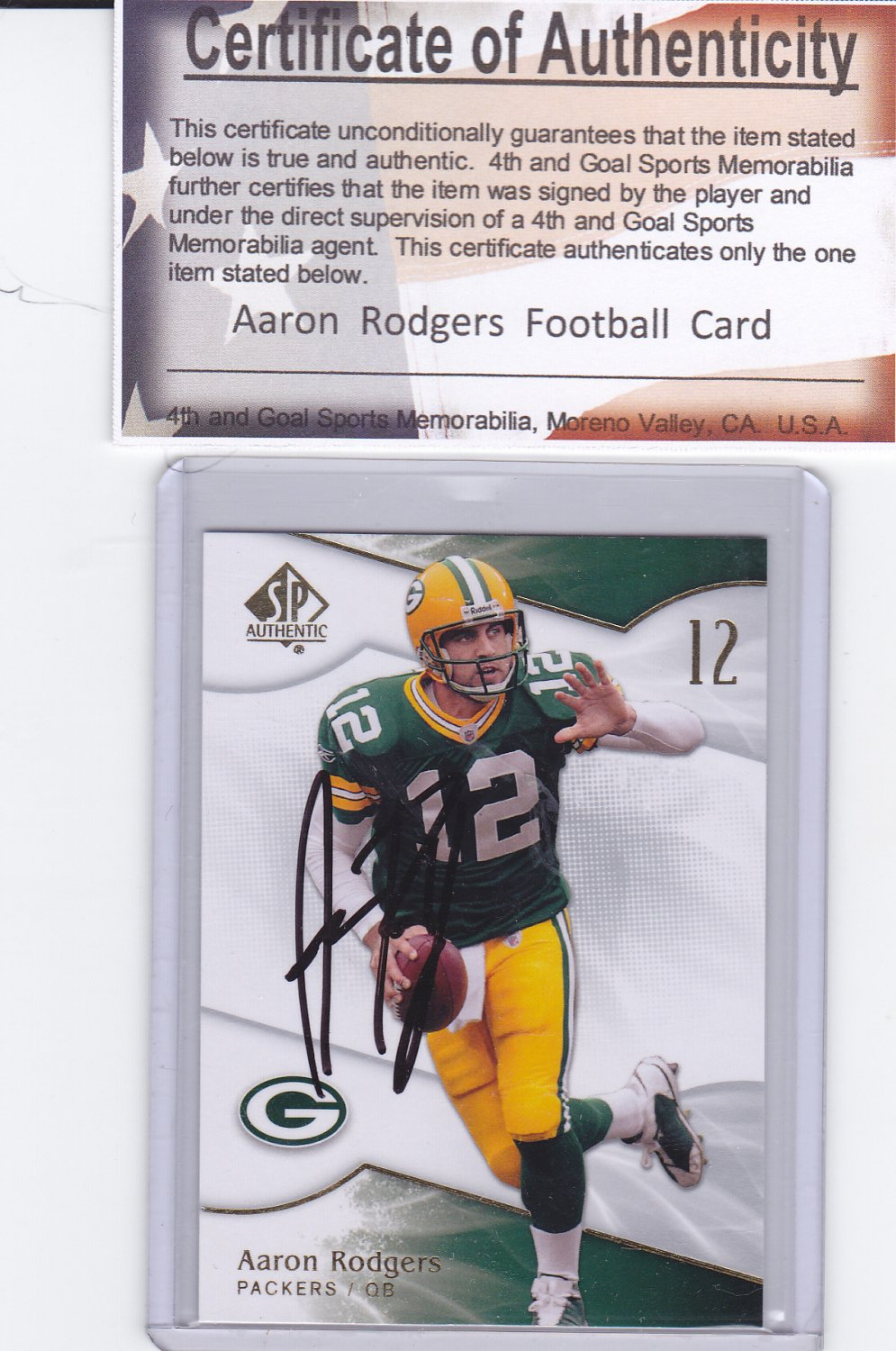 AARON RODGERS AUTOGRAPHED 2009 SP AUTHENTIC WITH COA