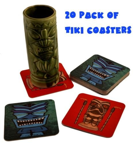 20 Pack Tiki Bar Drink Cocktail Coasters - Luau Party Drink Supplies