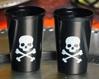 50 Pirate Shot Glasses - Skull/Crossbones Flag Party
