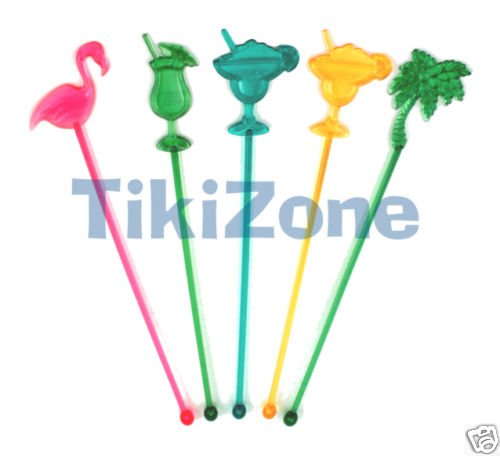 25 Assorted Tropical Tiki Luau Drink Stirs/Swizzle-palm