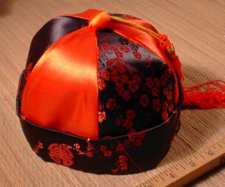 Red Chinese Mandarin Satin Hat - New Year Dragon