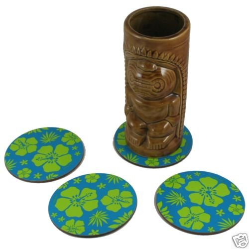 12 Pack of Blue Hawaiian Tiki Bar Luau Coasters