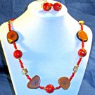 A022 - Red and Brown beaded Necklace and ear rings