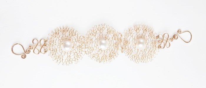 Artisan 14kt Gold filled bracelet with pearls