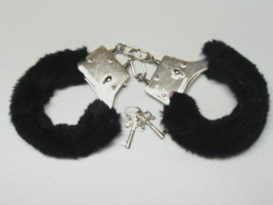 Pink, Black or Red Sexy Fur Handcuffs - Furry Love Handcuffs Gag Gift