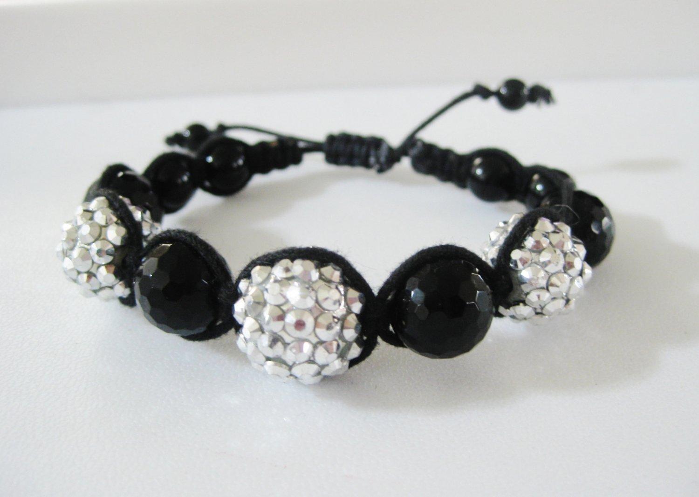 Silver Rhinestone & Onyx Bracelet