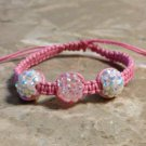 Pink & White Rhinestone Bracelet