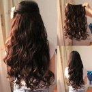 Brown Curly Clip in Hair Extensions 5 clips full head piece