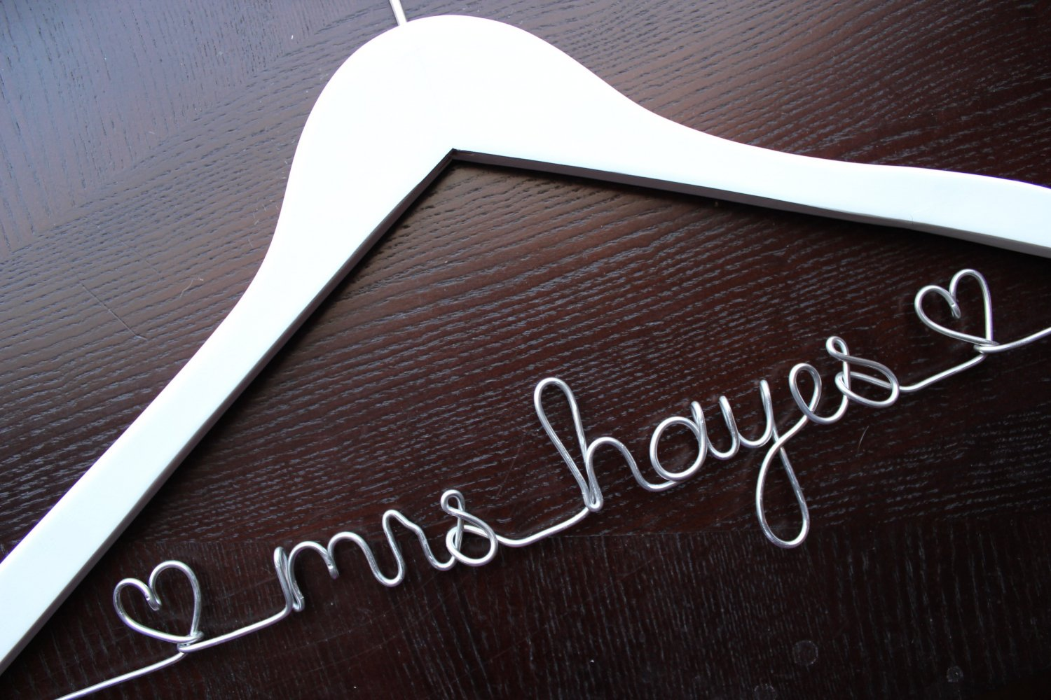 Personalized Wedding Dress Hanger - WHITE - great gift for the Bride or Bridesmaids
