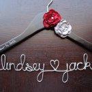 Custom Personalized Bridal Dress Hanger - BLACK - wedding date inscribed