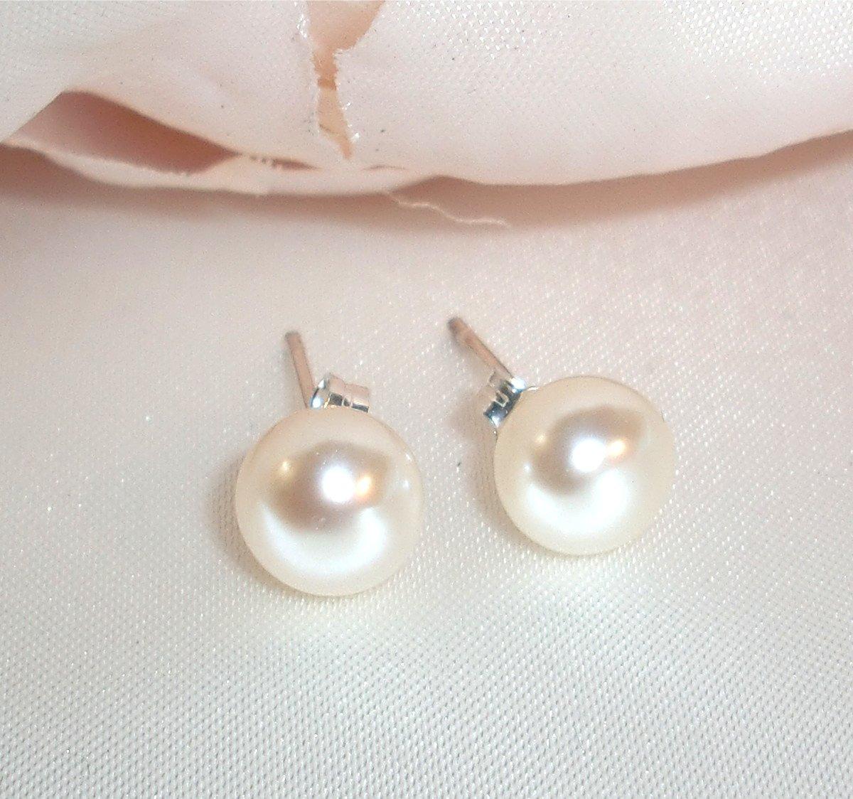 Wedding Sterling Silver Freshwater Pearl Stud Earrings