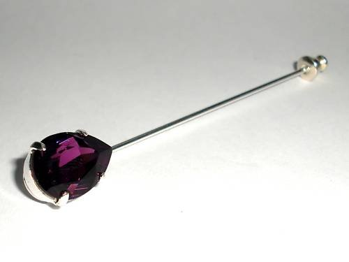 NEW Wedding Crystal Amethyst Stock Cravat Tie Pin made with SWAROVSKI ELEMENTS