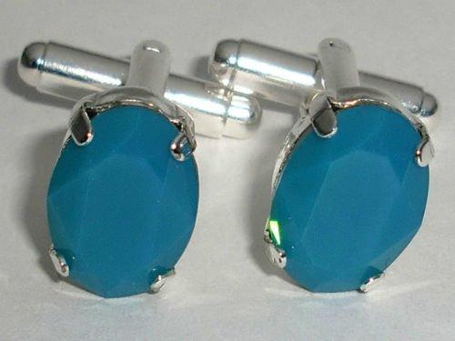 RARE! Wedding Blue Opal Crystal Groom Cufflinks made with SWAROVSKI ELEMENTS