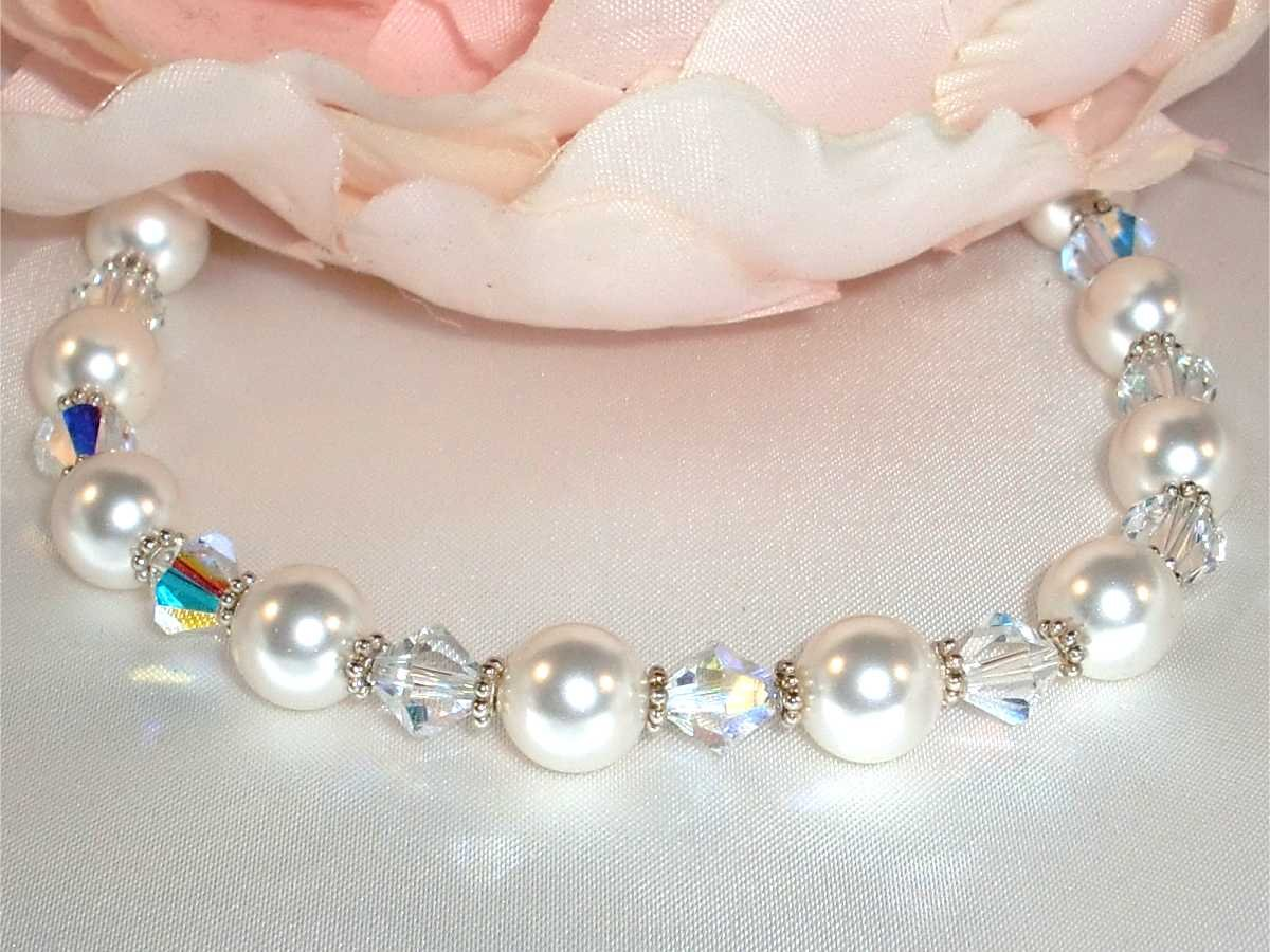 Wedding Bridal Sterling  Silver Crystal Bracelet made with SWAROVSKI ELEMENTS