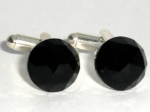 Wedding Jet Crystal Groom Usher Xmas Gift Cufflinks made with SWAROVSKI ELEMENTS