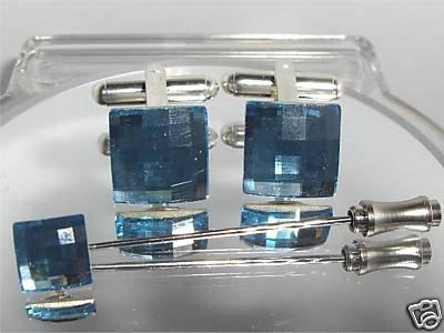 Wedding Aqua Crystal Cufflinks & Cravat Tie Pin Set made with SWAROVSKI ELEMENTS