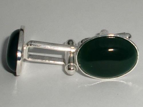 NEW! Green Onyx Gemstone Natural Stone Silver Cufflinks