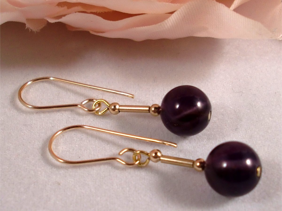 Wedding 9ct Gold Natural Amethyst Earrings Gift