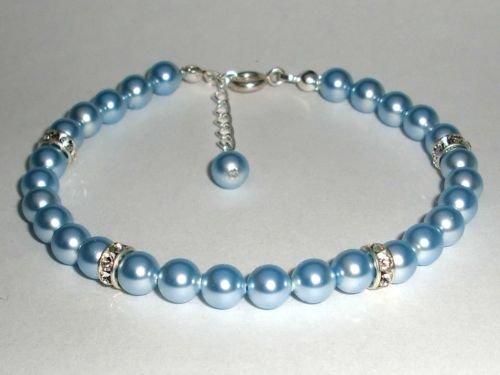 Wedding Xmas Gift Crystal Lt. Blue Pearls Bracelet made with SWAROVSKI ELEMENTS