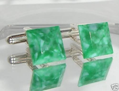 Rare! 12mm Vintage Faux Jade Glass Square