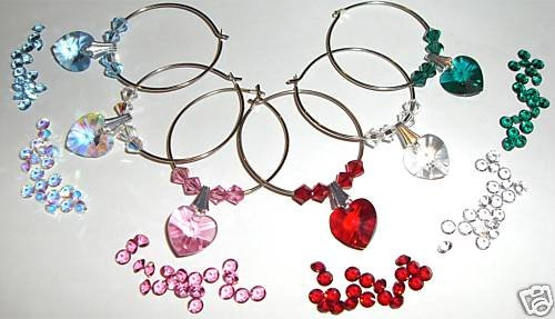 6 Heart Wine Glass Charms made with SWAROVSKI ELEMENTS