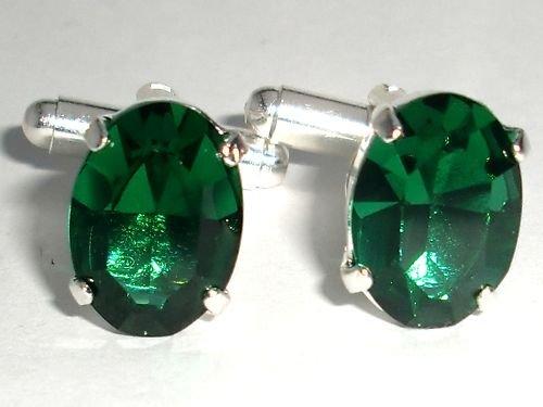 RARE! Wedding Xmas Crystal Groom Emerald Cufflinks made with SWAROVSKI ELEMENTS