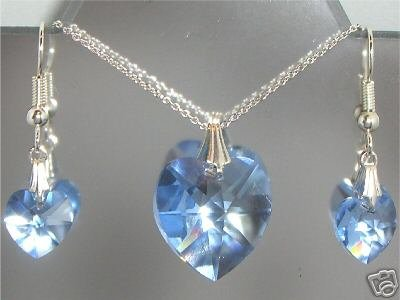 Sterling Silver Necklace Heart Pendant Earrings set made with SWAROVSKI ELEMENTS