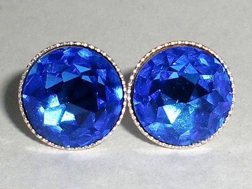 Vintage Wedding S Silver 925 Sapphire Crystal Studs made with SWAROVSKI ELEMENTS
