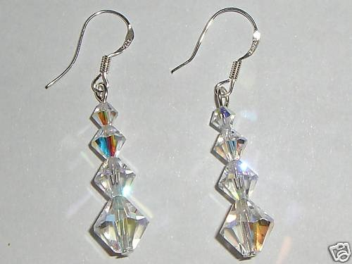 Sterling Silver Wedding Xmas Crystal AB Earrings made with SWAROVSKI ELEMENTS