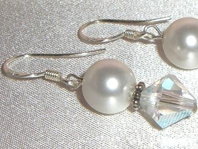 Sterling Silver Wedding  Pearls&Bicones Earrings made with SWAROVSKI ELEMENTS