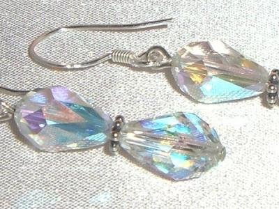 Wedding Sterling Silver Crystal AB Drop Earrings made with SWAROVSKI ELEMENTS