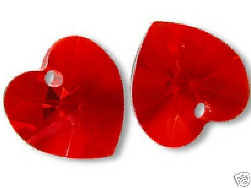 ONE PAIR HEART PENDANT LT SIAM CRYSTAL 10MM SWAROVSKI ELEMENTS