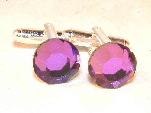 RARE! Wedding Gift Heliotrope Crystal Cufflinks made with SWAROVSKI ELEMENTS