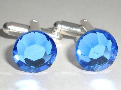 RARE! Wedding Party Gift Sapphire Crystal Cufflinks made with SWAROVSKI ELEMENTS