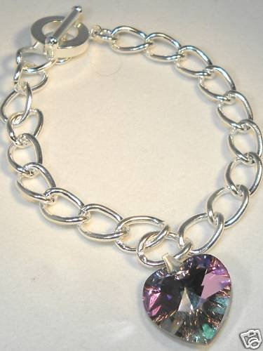 Wedding Valentine Lt.Vitrail Crystal Heart Bracelet made with SWAROVSKI ELEMENTS