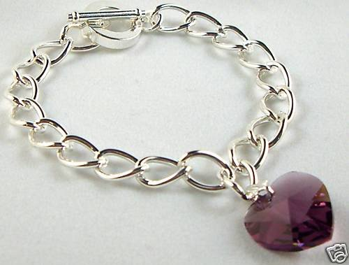 Wedding Xmas Gift Amethyst Crystal Heart Bracelet made with SWAROVSKI ELEMENTS