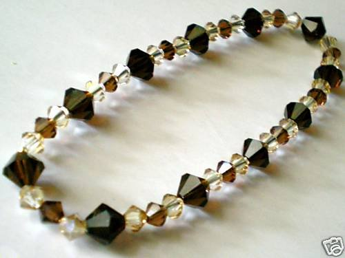 Wedding Valentine Xmas Gift Mocca Crystal Bracelet made with SWAROVSKI ELEMENTS
