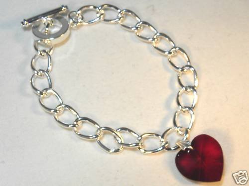 Wedding Valentine Garnet Crystal Heart Bracelet made with SWAROVSKI ELEMENTS