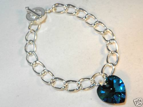Wedding Xmas Bermuda Blue Crystal Heart Bracelet made with SWAROVSKI ELEMENTS